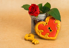 Valentine's Day heart shaped cookies with a key and rose Stock Photos