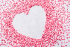 Valentines day heart shaped frame background made of candies. royalty free stock photos