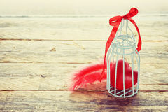 Valentine's Day heart in small cage Stock Image