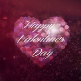 Valentine`s day heart with sparkling bokeh and inscription. Valentine`s day heart with sparkling bokeh effect and inscription Stock Photos