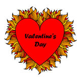 Valentine's day heart with spurts of flame. Royalty Free Stock Image