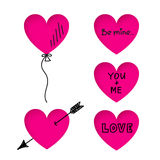 Valentine's Day heart stickers with doodle titles Stock Photography