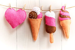 Love, Valentines Day. Heart, couple ice cream,wood. Love, Valentines Day. Heart and couple sweet ice cream, Handmade, hanging on rope. Vintage romantic style Stock Images