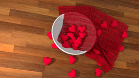 Valentine`s day heart symbol in a white pot on wood table Royalty Free Stock Image