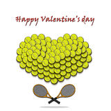 Valentine`s Day and Heart from tennis balls Royalty Free Stock Photos