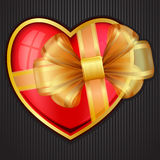 Valentine`s Day heart with transparent gold bow Stock Photos