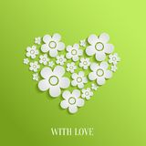 Valentine`s day heart of white flowers Stock Photo