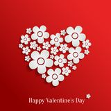 Valentine`s day heart of white flowers Stock Photos