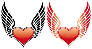 Valentine's Day Heart with wing stock image