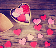 A valentine's day heart on a wooden background toned with a retr Stock Photography