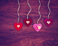 Valentine's day heart on a wooden background toned with a retr Royalty Free Stock Images