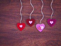 Valentine's day heart on a wooden background toned with a retr Stock Image