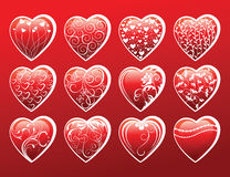 Valentine's day hearts. 12 Valentine's day hearts -  illustration Stock Image