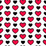 Valentine`s day hearts in black and red color on white background, seamless pattern. Holiday vector illustration royalty free stock images