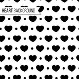 Valentine`s day hearts and dots in black color on white background, seamless pattern. Monochrome vector illustration. Romantic repeated endless texture design Royalty Free Stock Photo