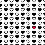 Valentine`s day hearts in black and white color, seamless pattern. Monochrome vector illustration. Romantic texture. Valentine`s day hearts and dots in black and Royalty Free Stock Photography