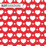 Valentine`s day hearts and dots on bright red background, seamless pattern. Vector illustration. Romantic texture design. Valentine`s day hearts and dots on Royalty Free Stock Image