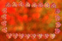 Valentine`s day hearts frame, lights background bokeh. Frame for holiday pictures or important text, colored lights in the frame. Of hearts, the decoration of stock photos