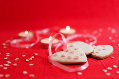 Valentine`s Day with hearts ginger cake Stock Photo