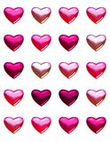 Valentine's day hearts isolated on white. 20 pink and red shades of 3d hearts on one page. Isolated on white for easy cut out or background fill Royalty Free Stock Photography