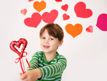 Valentine's Day Hearts and Kids Fun Stock Images