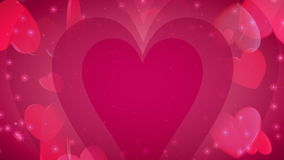 Valentine's Day Hearts of Love. Icon hearts floating, light rays and glows. HD 1080 Seamless Loop stock video