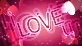 Valentine's Day Hearts of Love. Icon hearts floating, light rays and glows. HD 1080 Seamless Loop stock footage