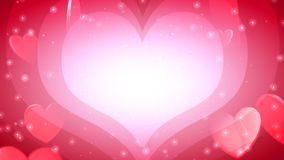 Valentine's Day Hearts of Love. Icon hearts floating, light rays and glows. HD 1080 Seamless Loop stock video footage