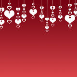 Valentine's Day Hearts on a red background . The concept of love Stock Image