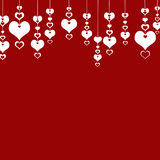 Valentine's Day Hearts on a red background . The concept of love Royalty Free Stock Photography