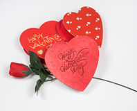 Valentine`s Day Hearts with Red Silk Rose Stock Image