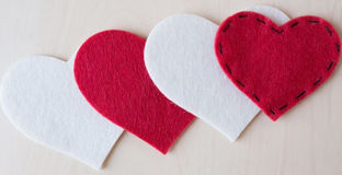 Valentine's day 4 hearts. Red and white hearts. Stock Photos