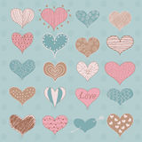 Valentine's Day Hearts Retro Sketchy Doodles Stock Photo