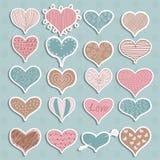 Valentine's Day Hearts Retro Sketchy Doodles on. Valentine's Day Hearts  Retro Sketchy Doodles Stock Photos