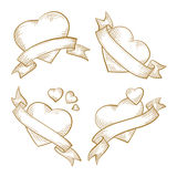 Valentine's Day hearts sketch set Stock Photos