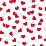 Valentine`s day hearts seamless pattern. Doodle style. Valentine`s day hearts with wings and arrows seamless pattern. Doodle style. Love background Stock Photos