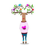 Valentine s day. hipster deer falling in love. Hipster deer in love holding heart valentine s day Stock Images