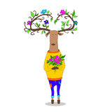 Valentine s day. hipster deer falling in love. Hipster deer in love holding heart valentine s day Vector Illustration