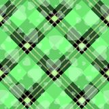 Valentine s Day Hipster Style Tartan and Buffalo Check Plaid Vector Patterns Black and green with white Hearts, Pattern Tile stock illustration