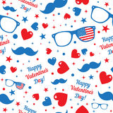 Valentine's Day hipsters symbols with the American Royalty Free Stock Photo