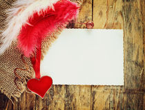 Valentine's day holiday background, heart, two feathers Royalty Free Stock Image