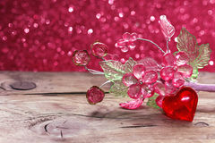 Valentine`s day, holiday background with transparent red heart, Royalty Free Stock Photo