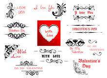 Valentine's Day holiday scripts. And headers for design Royalty Free Stock Image
