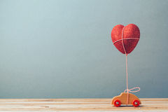 Valentine's day holiday with toy car and heart shape Royalty Free Stock Photo