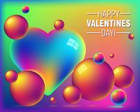 Valentine`s day holographic foil abstract background with rainbow heart and bright bubbles royalty free illustration