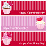 Valentine s Day Horizontal Banners. A collection of three horizontal banners wishing a happy St. Valentines or Saint Valentine s Day, with sweet cupcakes. Eps Royalty Free Stock Photography