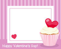 Valentine s Day Horizontal Frame. St. Valentines or Saint Valentine s Day horizontal photo frame with a red heart and a sweet cupcake, on pink background. Eps vector illustration