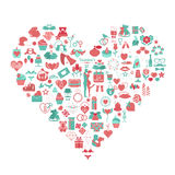 Valentine`s day icon set. Romantic design elements isolated on w Royalty Free Stock Images