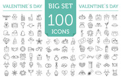 Valentine`s day icon set. Romantic design elements  on w Stock Photo