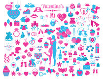 Valentine`s day icon set. Romantic design elements  on w Royalty Free Stock Images
